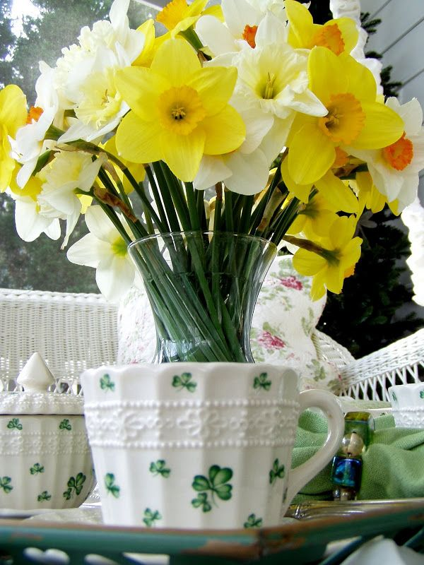St. Patrick's Day Table Setting Tea Party with Shamrock China and Daffodil Centerpiece
