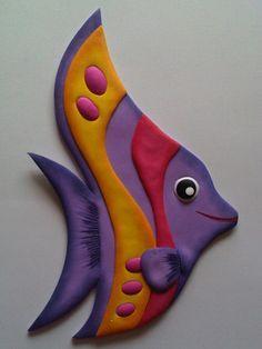 Peces, figuras de animales elaborados con Foamy.