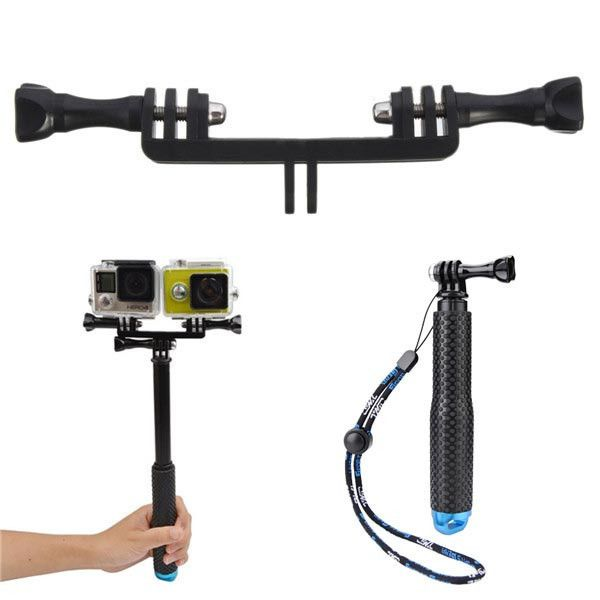 19cm To 49cm Flexible Selfie Monopod Double Camera Holder Handle Mount For Gopro Xiaomi Yi. 19cm To 49cm Flexible Selfie Monopod Double Dual Camera Holder Handle Grip Mount For GoPro 2 3 3 Plus 4 Session Xiaomi Yi SJ4000 SJ5000 SJcam  Features:   19cm To 49cm Flexible Selfie Monopod:  Material: Aluminum Use For: Digital Camera GoPro 2 3 3 Plus 4 Session Xiaomi Yi SJ4000 SJ5000 SJcam Type: Professional Tripod Extened Length: 49cm Folded Length: 19cm Weight: 200g  Double Dual Camera Holder…
