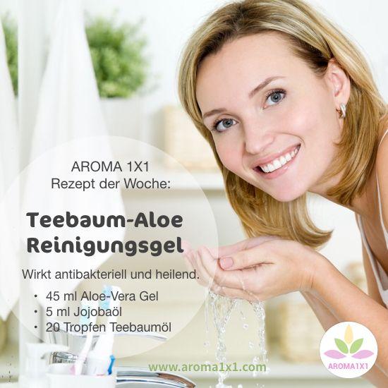 Teebaumöl ist sehr vielseitig einsetzbar. Es wirkt zum Beispiel stark antibakteriell und ist deswegen bestens bei Hautunreinheiten und Akne geeignet. Hier ein Rezept für ein Reinigungsgel bei Hautunreinheiten.  Für noch mehr Tipps und Rezepte mit Teebaumöl bei AROMA1x1.com