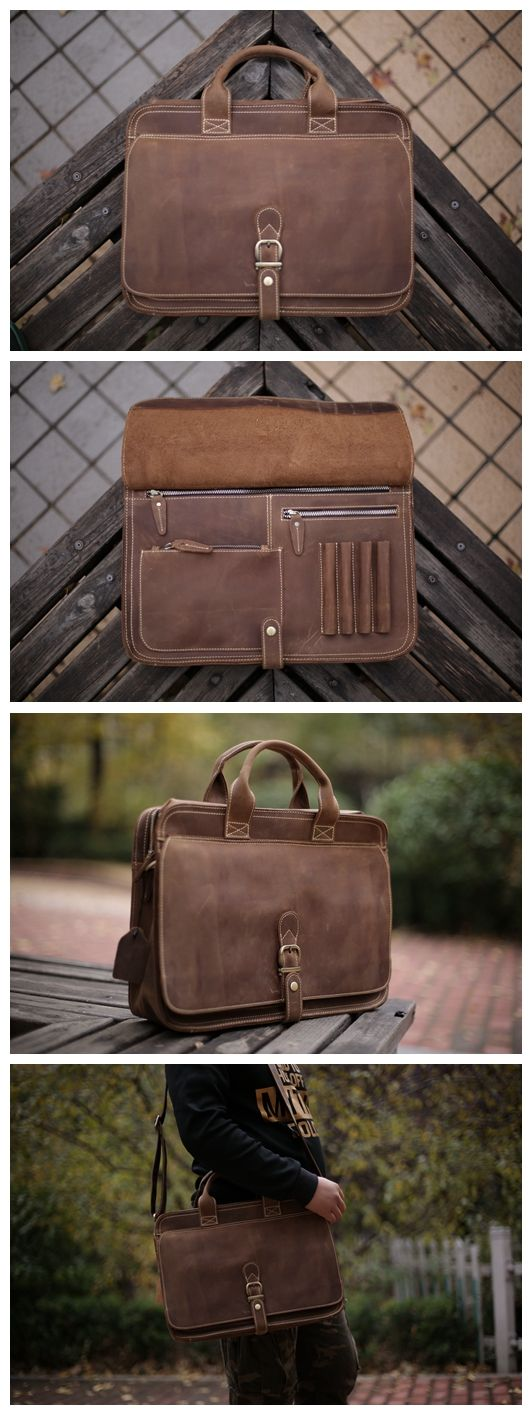 Handcrafted Antique Style Top Grain Leather Mens Briefcase Messenger Bag Laptop Bag 6020