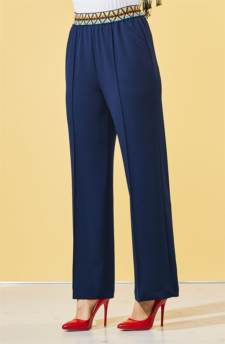 Ethnic Pattern Rubber Trousers Navy Blue B7 19094