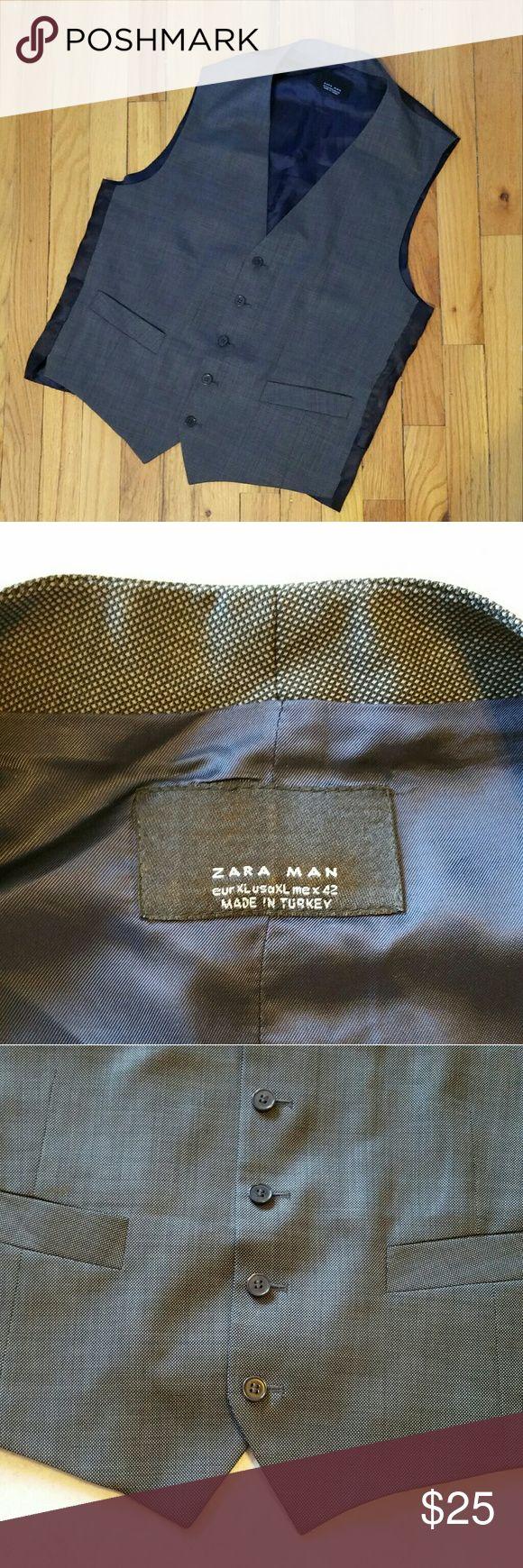 Zara Man Vest Like new! Zara Man vest. Gray and navy back. 2 pockets in front. Size XL.  Make an offer! Zara Suits & Blazers Vests