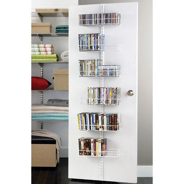 The Container Store > White elfa Door & Wall Rack Media System Components, looks like a great idea for more movie space!