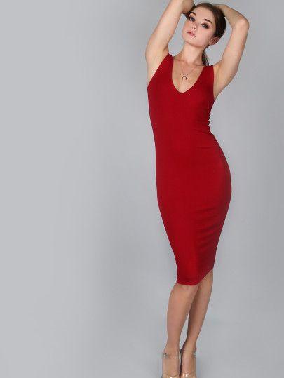 Бордовое модное платье воротник с вырезом