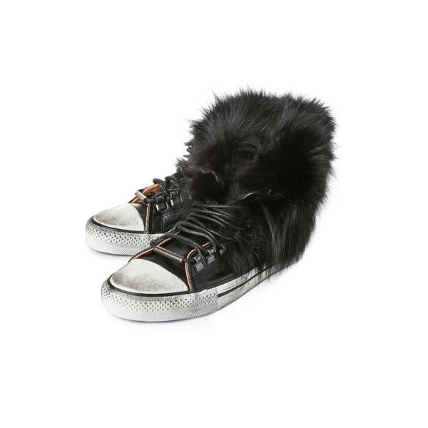 NEW IN! Black Dioniso Ladies High-Top Fox Fur Trainers Black - Buy now at www.lineafashion.com. #fashion #converse #hightops #trainers #sneakers #scuffed #luxury #leather #aw14 #wintershoes
