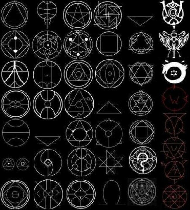 Fullmetal Alchemist transmutation circles. Might come in handy later.