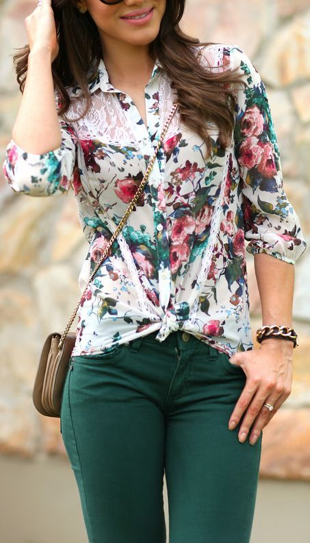 White Lace Paneled Floral Blouse by Super Vaidosa