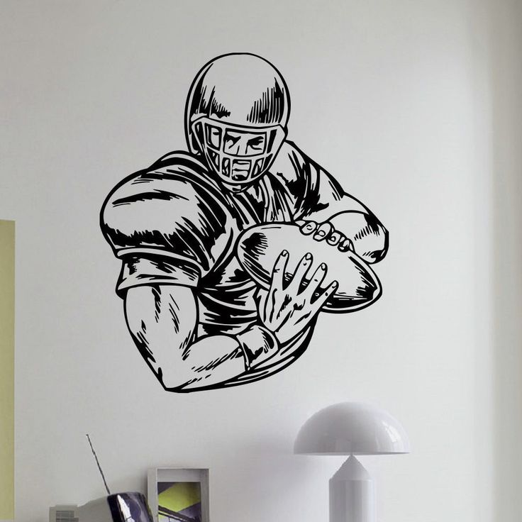 Quarterback Drawing American Football Player Vinyl Wall Art Decal Sticker