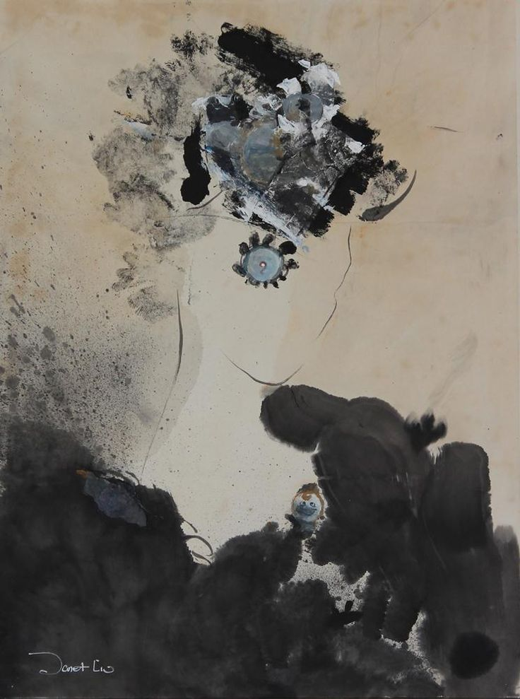 Flower Like Year I, 2001, 56x71cm<br> Ink/mixed media on rice paper/canvas