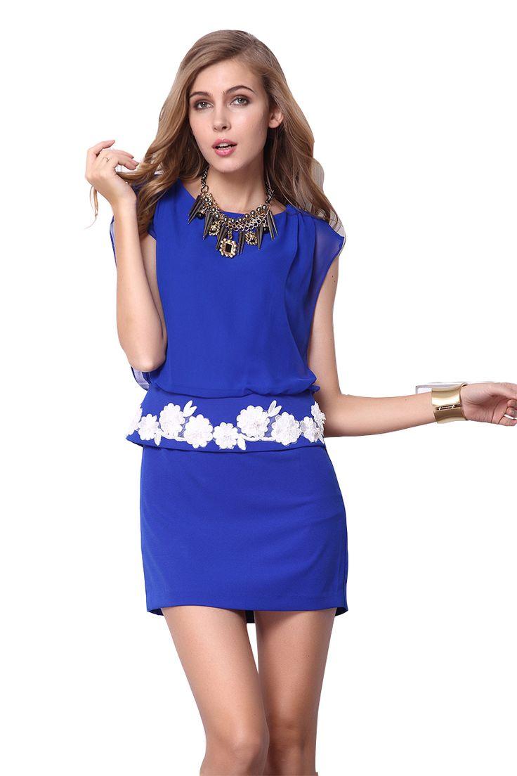 Blue Sleeveless Embroidery Bandeau Bodycon Dress