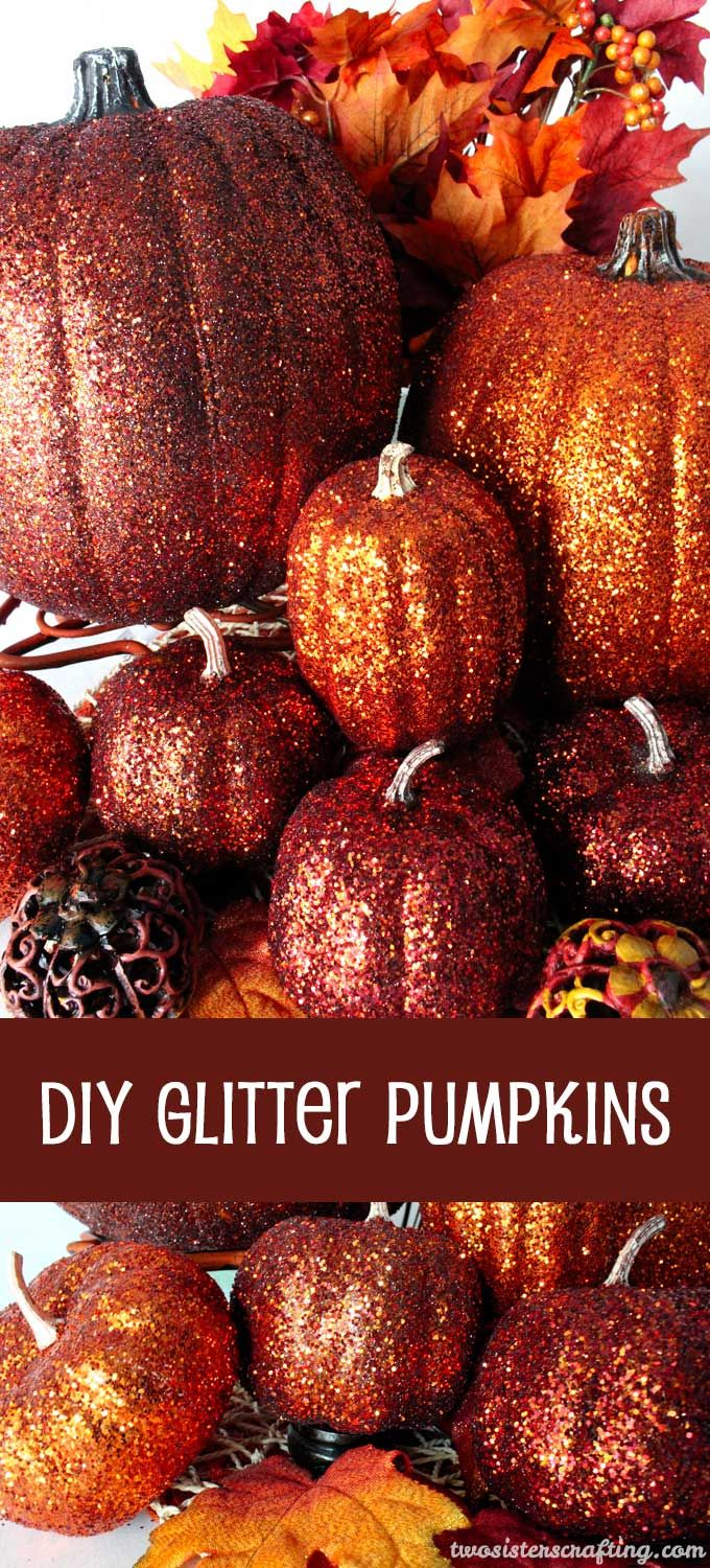 DIY Glitter Pumpkins are so easy to make that there is no need to decorate this fall with plain pumpkins. These Glittery Pumpkins make a fabulous Fall decoration, Thanksgiving Centerpiece or a Hallowe