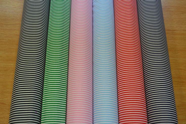 3mm Candy Stripes On White Craft Dress Polycotton Fabric Poly Cotton