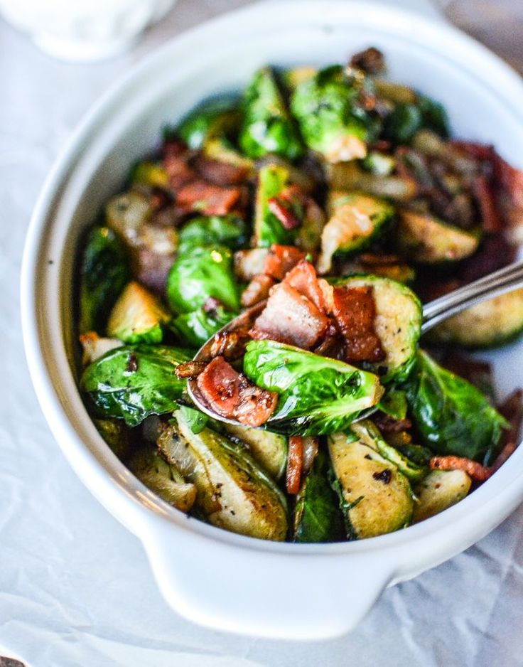 (5 Ingredient) Sauteed Brussels Sprouts with Bacon and Caramelized Onions
