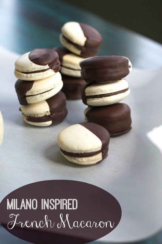 Black  White French Macarons #chocolate