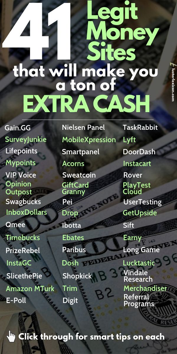 41 Legit Money Sites that will make you a ton of extra cash