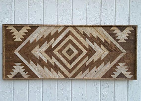 Reclaimed Wood Wall Art - Twin Headboard - Chevron Design - Lath Art - Wall decor - Rustic - Mosaic - Geometric Art - Home Decor