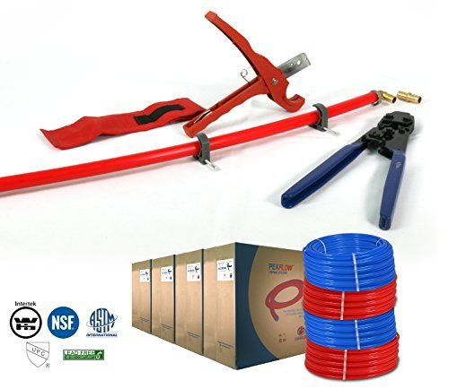 Pexflow PXKT5001234 Pex Starter Kit  Crimper  Cutter Tool12In34In Elbow  Coupling Fitting12In34In Cinch Clamp12In34In Half Clamp12In34In X 500ft PEX Tubing 1 Red  1 Blue >>> Want to know more, click on the image. This is Amazon affiliate link.