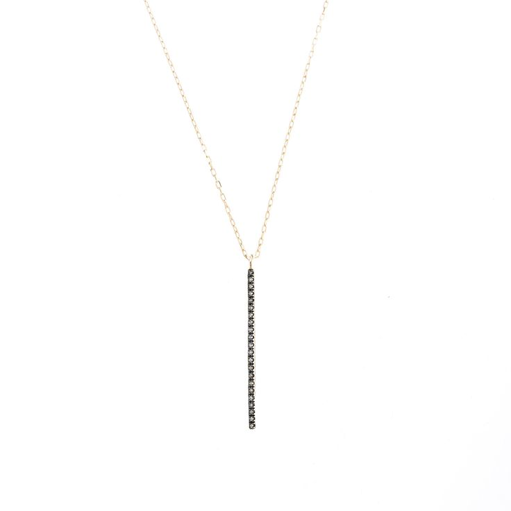 Hirotaka Jewelry » Vertical Diamond Bar Necklace (BLK Rhuthenium Plating)