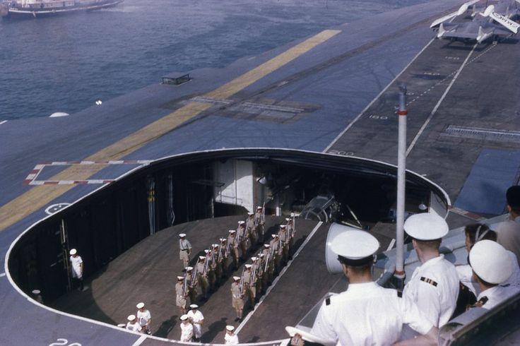The hanger deck visible on HMS Centaur (R06) off Aden 1959