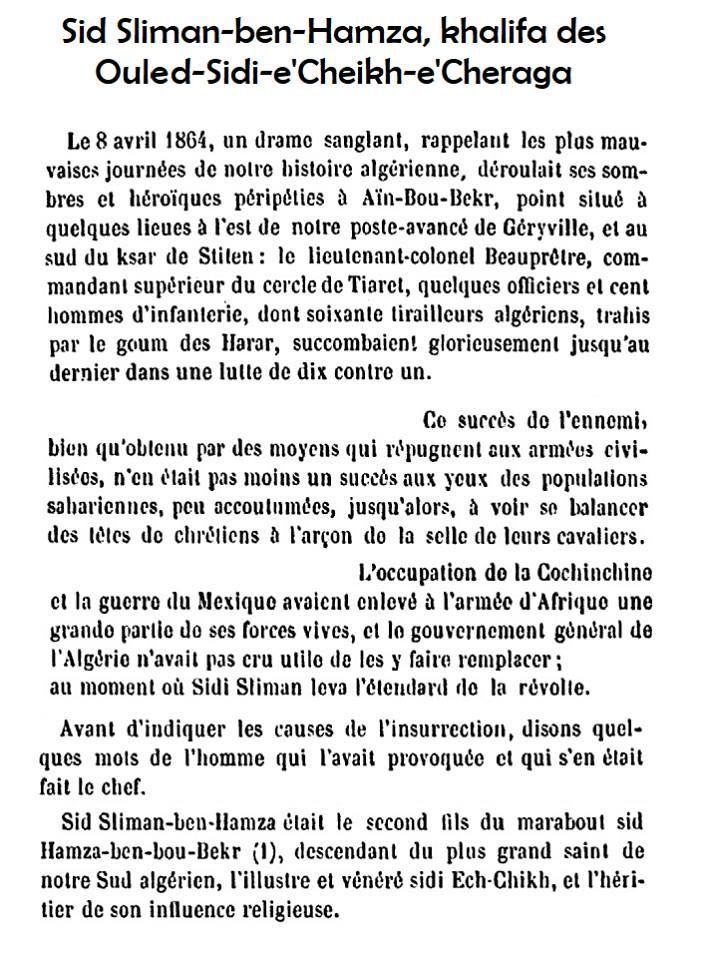 Histoire De L Insurrection Dans Le Sud De La Province D Alger En 1864 Sidi Slimane Ben Hamza Khalifa Des Ouled Sidi Algerie Details De L Histoire Mauva