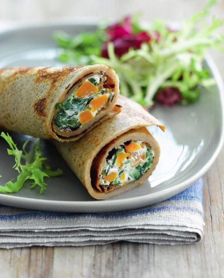 """Het lekkerste recept voor """"Boekweitpannenkoek met spinazie, pompoen en ricotta"""" vind je bij njam! Ontdek nu meer dan duizenden smakelijke njam!-recepten voor alledaags kookplezier!"""