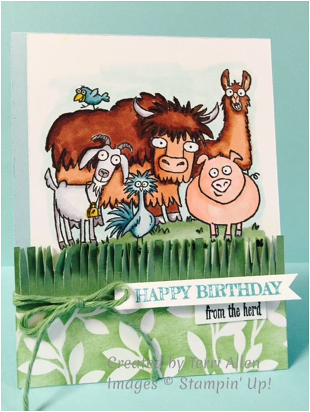 From the Herd Birthday Card - Use Fringe Scissors for Grass