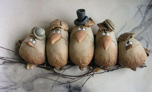 Birds on a branch; I think this may be ceramic or paper clay but I'm thinking polymer