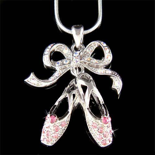 Pink Swarovski Crystal BALLERINA Slippers Ballet Dance Shoes Pendant Necklace Christmas Gift New. $4.00, via Etsy.
