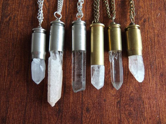 Quartz Crystal Bullet Necklace With Real Cartridge by Chromosphere, $20.00