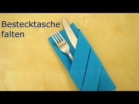 Servietten falten: Bestecktasche Falten - Einfache Tischdeko für Weihnachten - YouTube