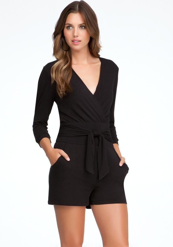 eb2fdf5680 Women s  Fashion  Clothing  Clothes  BeBe - Black Slit Sleeve Wrap Knit  Romper