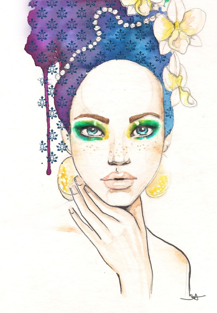 Sara Ligari #illustration | saraligari.it/  watercolor of woman with turban, green eyeshadow, orchids and stamped pattern.