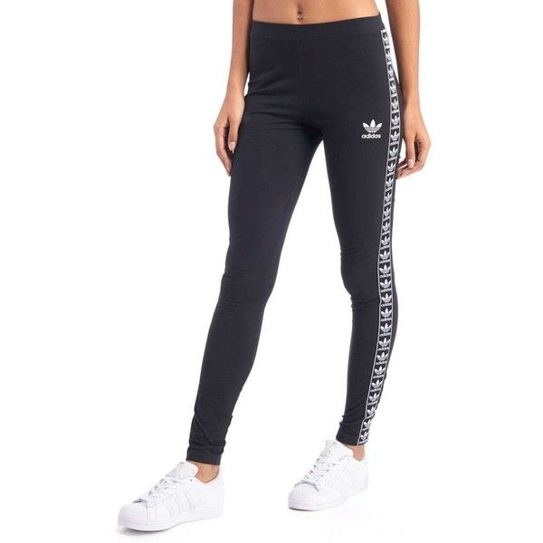 adidas Originals Tape Leggings found on Polyvore featuring polyvore, women's fashion, clothing, pants, leggings, white leggings, checkered leggings, adidas originals leggings, stretchy pants and adidas originals pants