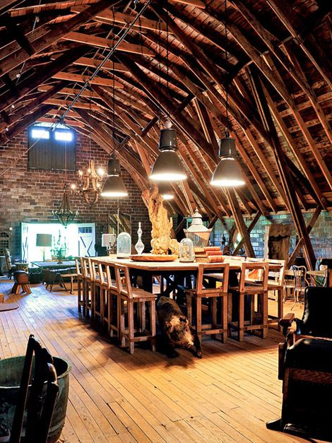 "Sounds like this was created for a ""party"" barn. But what a great ""house"" barn. Originally from http://www.traditionalhome.com/gardens_outdoorliving/beautifulgardens/design-inspiration-virginia-farm_ss15.html"