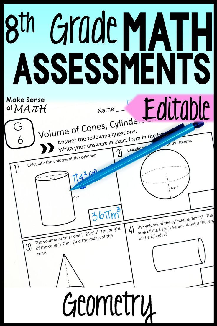 8th Grade Geometry Assessments Common Core Aligned Editable 8th Grade Math Math Assessment Math