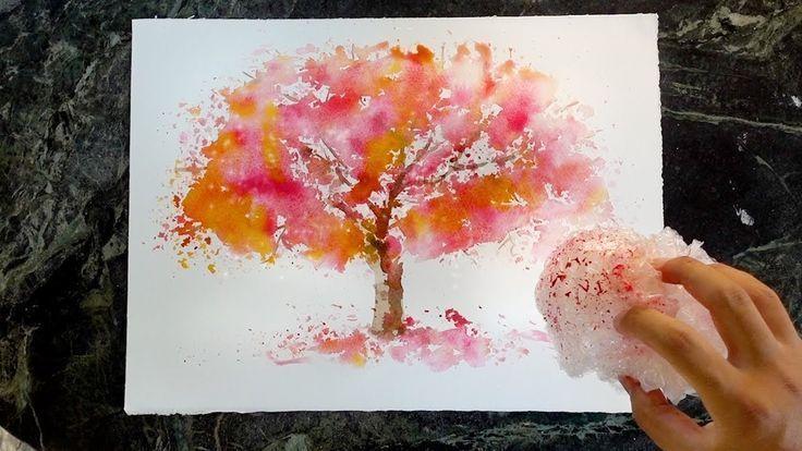 Bubble Wrap Maltechnik Wie Man Einen Baum In Aquarell Malt