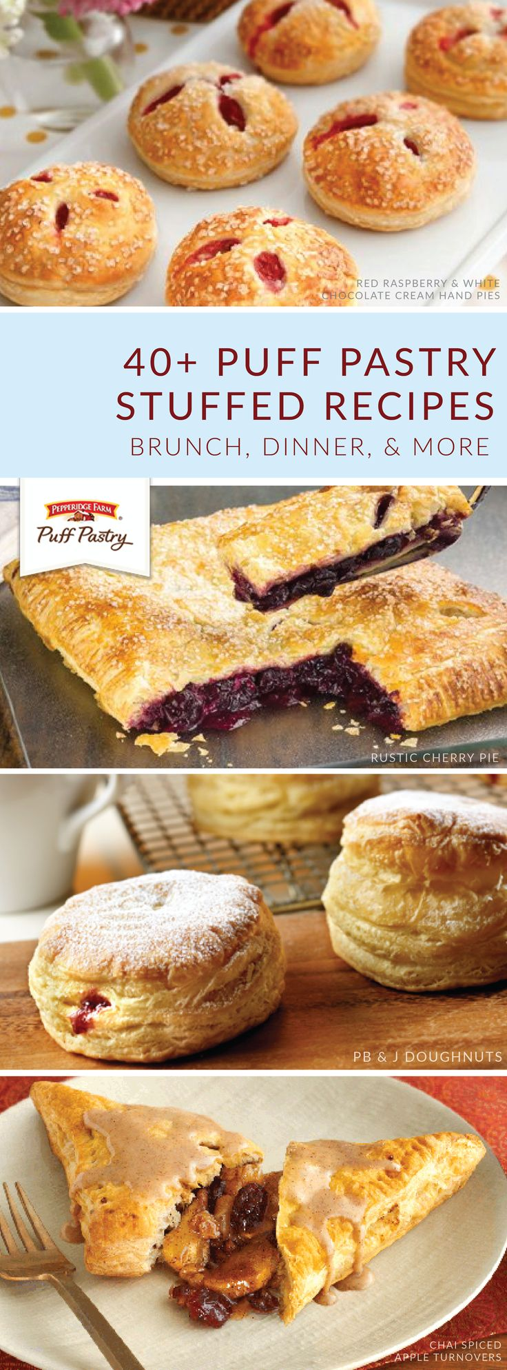 Whether it's morning, noon, or night, you can include these Pepperidge Farm® Puff Pastry Sheets stuffed recipes on your party menu. Tasty dishes like Spinach and Feta Mini Calzones; Rustic Cherry Pie; and Sausage, Pepper, and Onion Mini Bundles are made to be shared with friends.