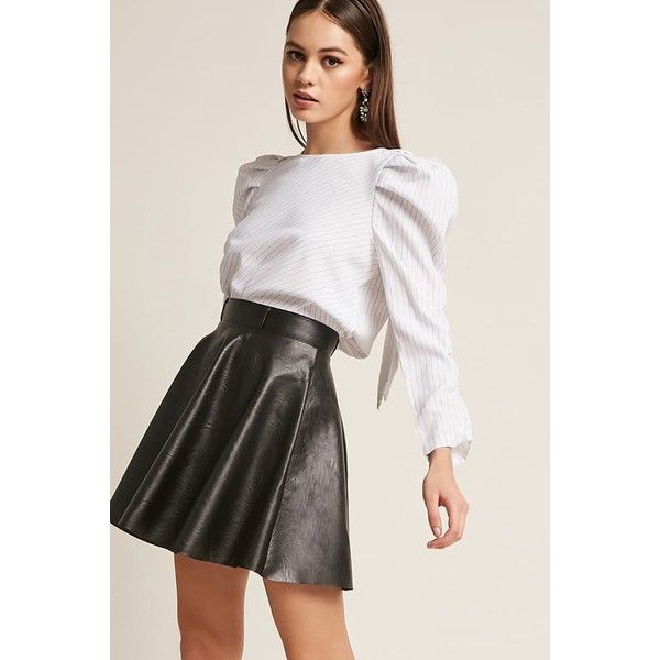51355be9ee Forever21 Faux Leather Mini Skirt ($35) ❤ liked on Polyvore featuring skirts,  mini skirts, black, short mini skirts, leather look mini skirt, forever 21,  ...