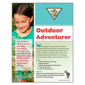 NEW! GIRLS' CHOICE BROWNIE OUTDOOR ADVENTURER BADGE REQUIREMENTS - This free digital download provides the requirements for earning the new Brownie Outdoor Adventurer Badge.* FREE DOWNLOAD TO VIEW, SAVE OR PRINT