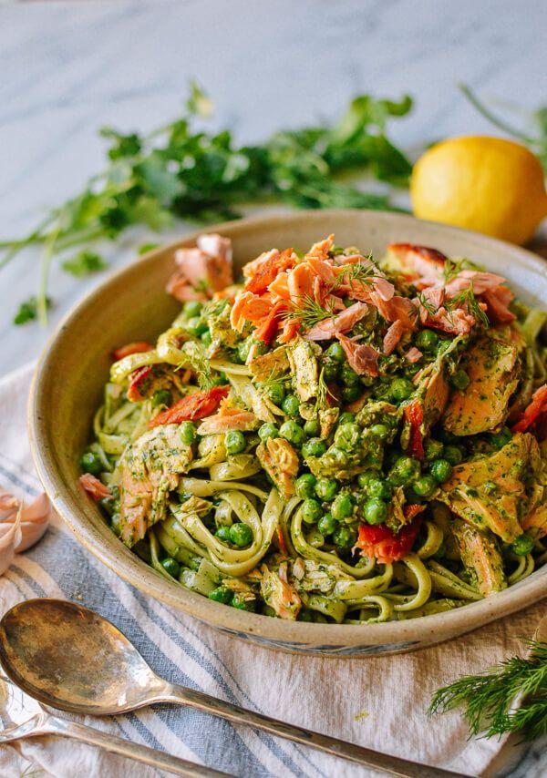Salmon Pasta with Green Goddess Pesto, by thewoksoflife.com