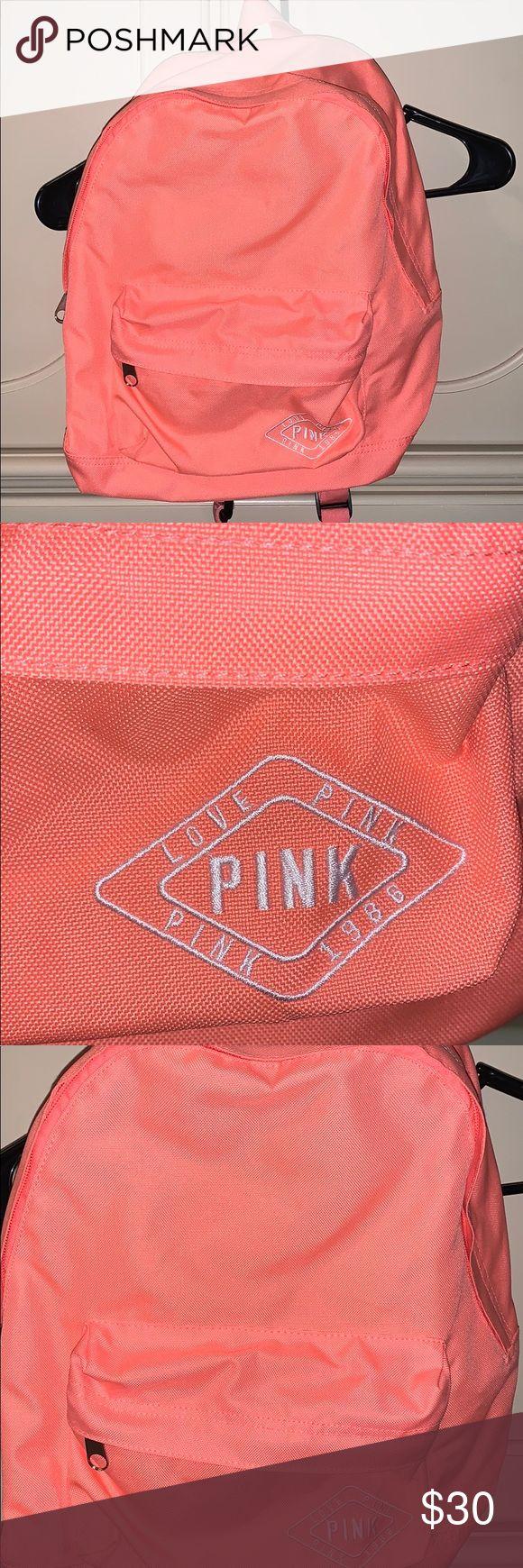 victorias secret pink mini backpack neon orange, super