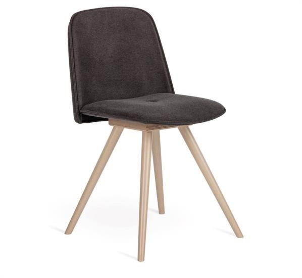 Sedia in legno con seduta in tessuto o ecopelle