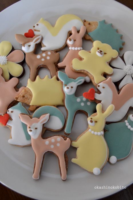pastel color animal cookies♡