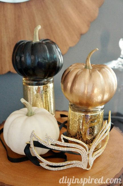 easy gold black and white pumpkins diy