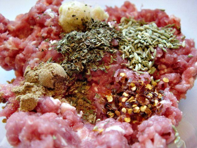 Home made Italian Sausage Recipe  Add the garlic/salt mixture, herbs and spices to the ground meat