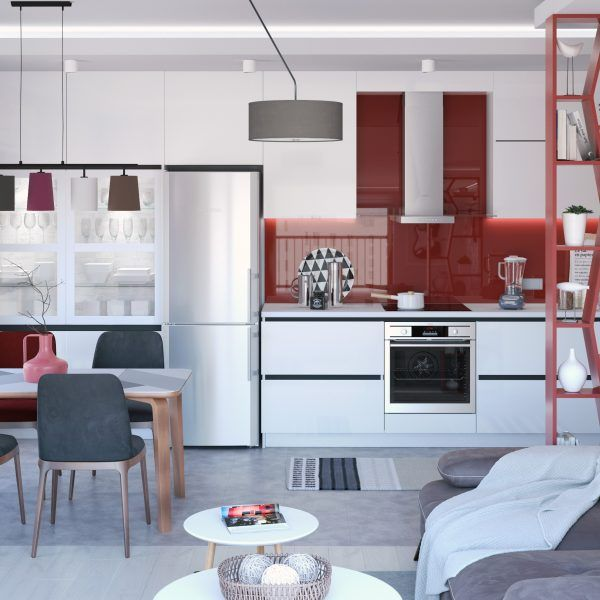 Small apartment with modern design. red kitchen backsplash, grey sofa by Selimoglu, Ceiling lamp by Eglo.
