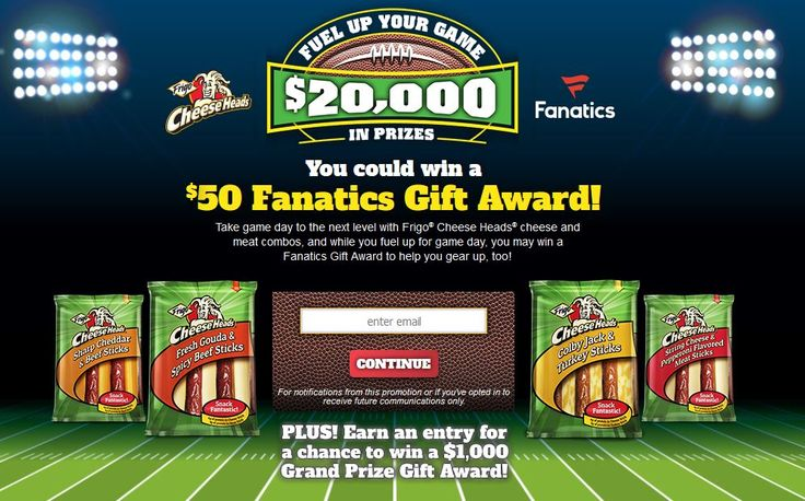 The Frigo® Cheese Heads®Fuel Up Your Game Sweepstakes  Get ready for your game day with Frigo® Cheese Heads® cheese and meat combo!  NO PURCHASE NECESSARY. Sweepstakes starts on 9/1/17 at 12:00:01 PM ET and ends on 11/30/17 at 11:59:59 PM ET. See Official Rules for entry instructions, odds of winning, prize details and restrictions, etc. Open only to legal residents of the 50 US/DC. Must be at least 21 years of age. Void where prohibited or restricted by law. Sponsor: Saputo Cheese USA Inc…