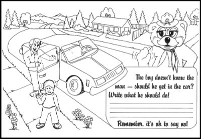 Great lesson plan ideas for stranger danger/stranger safety! Coloring pages with quotes on them, scenarios, tips and much more in this lesson plan!