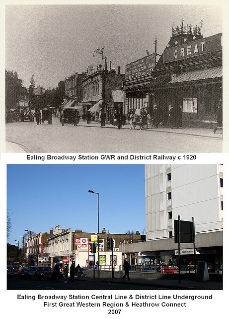 100 Years On - Ealing Broadway Station c 1920 & 2007 The railways were subject to many changes in the history of this station and the caption below the modern picture shows the latest situation, with both the London Underground and main railway system sharing the station.